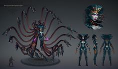 Boss concept for Skyforge MMO. With bossfight props and abilities. Fantasy Races, Fantasy Girl, Dark Fantasy, Character Concept, Character Art, Concept Art, Monster Design, Monster Art, Fantasy Creatures