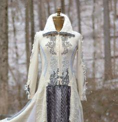 White gray Wedding sweater COAT refashioned eco от amberstudios