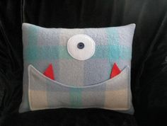 Monster+Upcycled+Wool+Blanket+Cushion