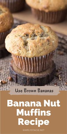 Banana Nut Muffins - A classic banana muffin that you can make with or without nuts. These muffins are moist and full of banana flavour, making them a go-to snack and lunch box favourite.
