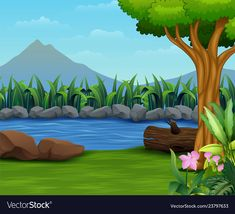 Nature lanscape with a river and mountain backroun Studio Background Images, Photo Background Images, Cartoon Background, Photo Backgrounds, Wallpaper Backgrounds, Scenery Drawing For Kids, Drawing Lessons For Kids, Art Drawings For Kids, Easy Drawings