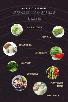 Food trends for 2016. Move over kale and make room for seaweed, nut milks and matcha. Recipes for all the eight suggested trends.