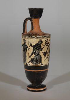 RISD Museum: Unknown artist, Greek, Attica. Oil Flask (Lekythos), ca. 500-490 BCE. Terracotta, black-figure on white ground. Height: 20.6 cm (8 1/8 inches). Gift of Mrs. Murray S. Danforth 37.020X