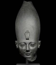 Head of Pharaoh Tuthmosis III. Dynasty 18, reign of Tuthmosis III, c. 1479–1425 BC. Karnak, Thebes, Egypt. Green siltstone; 46 x 19 x 32 cm. British Museum, EA 986. Image © Trustees of the British Museum, London.