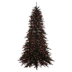9ft. Pre-Lit Artificial Christmas Tree Black Fir - Orange Lights : Target