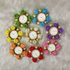Items similar to Flower Pearl Diya on Etsy Arti Thali Decoration, Kalash Decoration, Diwali Decoration Items, Thali Decoration Ideas, Christmas Candle Decorations, Diy Crafts To Sell On Etsy, Cd Crafts, Diy Arts And Crafts, Diwali Candles