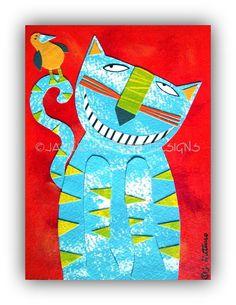 Cat art Original 5 x 7 Whimsical cat Kids by JackieGuttusoDesigns
