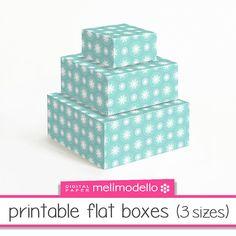 Printable flat boxes Lucienne water green 3 sizes par melimodello