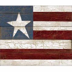 Rustic Americana Wood Grain Distressed Primitive Flag Painting Red & Blue, Framed Canvas Art by Pied Piper Creative, Brown Patriotic Crafts, July Crafts, Patriotic Decorations, Paint Stick Crafts, Flag Painting, Rock Painting, Blue Canvas Art, Texas Wall Art, Barn Quilt Patterns