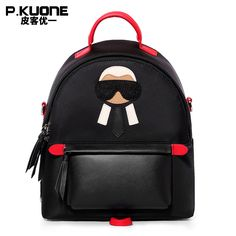 P.KUONE 2018 New Arrived Nylon Women Mini Backpack Famous Brand Shoulder Bag  Female High Quality School Bag For Teenager Girl-in Backpacks from Luggage  ... d5e23ecb9cc49