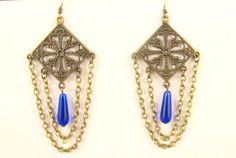 Boho Chandelier Earrings with Cobalt Blue by byBrendaElaine, $14.00