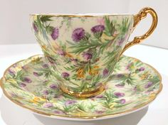 Thistle Tea Cup by Regency Bone China, Tea Cups and Saucers, Violet Cups, Antique Tea Cups, Tea Cups Vintage, English Bone China Cups