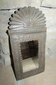 :D Charming Antique Punched Tin Mirror
