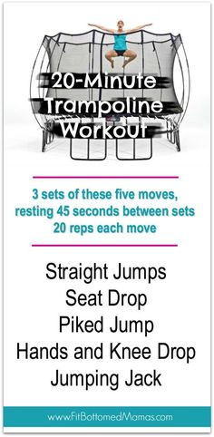 a trampoline? Get to jumping, mama! Outdoor Trampoline, Trampoline Workout, Trampolines, Fitness Diet, Fitness Motivation, Health Fitness, Family Fitness, Fitness Plan, Gym Workouts