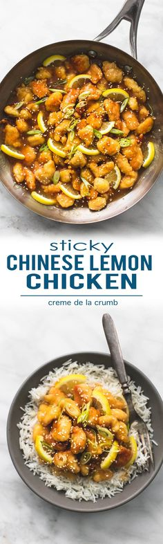 Easy healthy Sticky Chinese Lemon Chicken with a sticky lemon honey and garlic sauce is a tasty, better than takeout 30 minute meal! | lecremedelacrumb.com