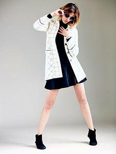 Ivory Black Femme Wool Coat