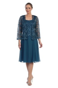 Short Mother of the Bride Dress with Jacket Plus Size Formal Cocktail - The Dress Outlet - 4