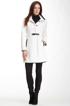 Faux Leather Trim Wool Blend Tab Coat
