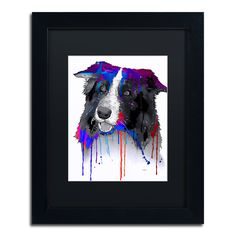 Border Collie by Marlene Watson Framed Painting Print