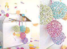 Dip yarn in glue, wrap small balloon, pop balloon - - - use as gift decoration.