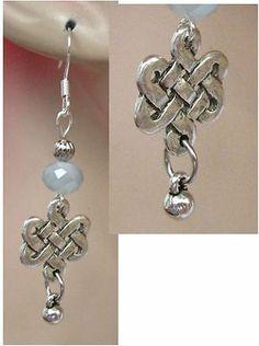 Silver Celtic Knot Drop Earrings Handmade Jewelry Women Accessories Fashion