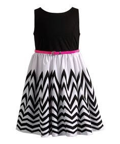Another great find on #zulily! Black & White Chevron Belted Dress - Girls by Youngland #zulilyfinds