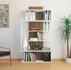 SATURN Bookcase - Bookshelf - Shelving Unit - Stand Shelf - Room Divider in modern design (White / Walnut) Creative Bookshelves, Bookshelf Design, Bookshelf Ideas, Bookshelf Headboard, Cube Bookcase, Bookcase White, Home Decor Styles, Home Accessories, Furniture Design