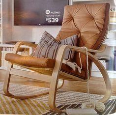 IKEA Poang rocking chair, seglora natural leather cover, birch veneer frame