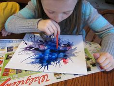 Finished blow paintings (oral motor exercises) More