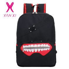 YANXI New High Quality Anime Tokyo Ghoul oxford unisex cartoon hot soild Luxurious softback zipper Backpack Double Shoulder Bag ** Peut être consulté en cliquant sur le bouton de VISITE