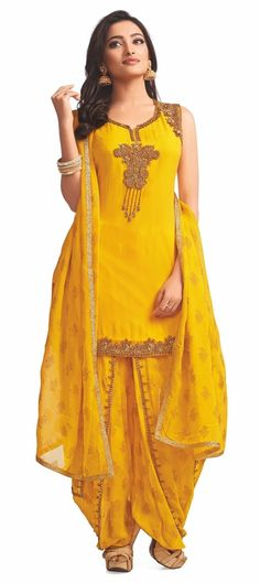 Dress patiala Faux Georgette Party Wear Salwar Kameez in Yellow with Thread work 903259 Yellow color family Party Wear Salwar Kameez in Faux Georgette fabric with Bugle Beads, Sequence, Thread work . Indian Dresses, Indian Outfits, Shadi Dresses, Indian Clothes, Patiala, Salwar Kameez, Kurti, Frock Fashion, Fashion Outfits