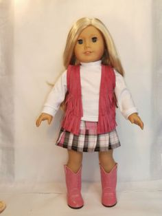 Hot Pink Boots Fringe Vest Top Plaid Skirt Doll Clothes Fit American Girl Only | eBay