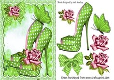 Pretty green polkadot shoes roses butterflies with lace A5 on Craftsuprint - View Now!