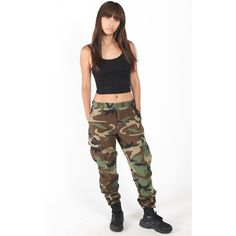 Vintage Re-Work Camo Jogger Pants ($54) ❤ liked on Polyvore featuring pants, camoflage pants, camo pants, snap pants, stretchy pants and army pants