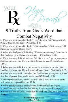 9 Truths from God's Word that Combat Negativity by Dr. Michelle Bengtson