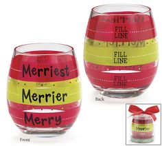 """Entertain this Holiday season with our """"Merry, Merrier, and Merriest"""" wine glasses!! #burtonandburton #holiday #wine_glasses"""