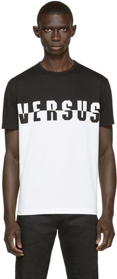 Short sleeve t-shirt colorblocked in black and white. Crewneck collar. Logo printed at front. Tonal stitching.