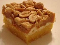 Create these simple bars with a yellow cake mix, marshmallows, peanut butter and dry roasted peanuts.