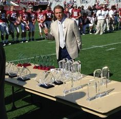 Nick Saban handing out awards after A-Day  game 2013