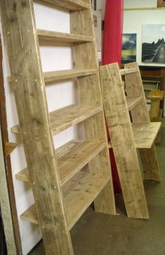 leaning bookcase from Brighton wood recycling project