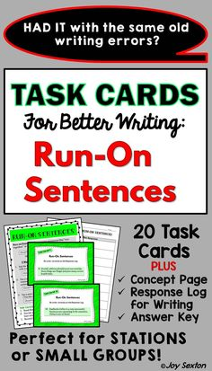 TASK CARDS: Run-On Sentences - Are you looking for an engaging activity that leads to improved student writing? These vibrant task cards give students helpful targeted practice with eliminating run-on sentences. Great for stations or small groups!