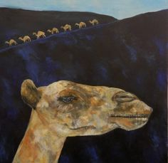 Archival pigment print (giclee print) of a camel on the sands in Lanzarote, with a camel train in the distant hills, from an original acrylic painting Memories of Lanzarote made from sketches of camels in Lanzarote by Caroline Skinner.  This print would make an ideal art gift for camel and animal lovers, or anyone who has been camel riding in Lanzarote or other Canary Islands.   PRODUCT DETAILS  • Giclee print (archival pigment print) of an expressive camel and distant camel train, from an…