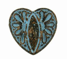 Baroque Carving Heart Blue Patina Metal Shank Buttons - 16mm - 5/8 inch