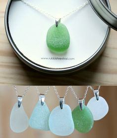 Genuine Seaglass Pendant Necklaces in a Variety of Colors.... http://www.beachblissdesigns.com/2016/10/genuine-seaglass-pendant-necklaces.html Elegant and Simple Seaglass Necklace!