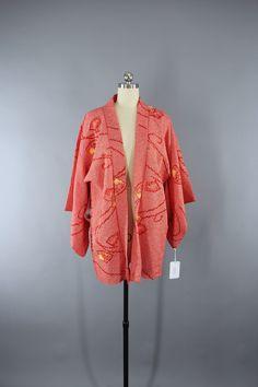 1970s Vintage Haori Kimono Jacket in Red Orange Shibori Print