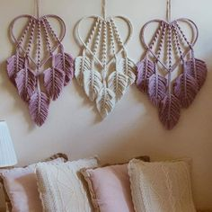 Aren't these dreamcatchers perfect? 📷 by … – Simona Fratrikova Wow! Aren't these dreamcatchers perfect? 📷 by … Wow! Aren't these dreamcatchers perfect? Macrame Wall Hanging Diy, Macrame Plant Hangers, Macrame Art, Macrame Projects, Macrame Knots, Yarn Crafts, Sewing Crafts, Art Macramé, Macrame Design