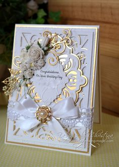 Flowers, Ribbons and Pearls: Wedding Day Card Wedding Day Cards, Wedding Cards Handmade, Wedding Anniversary Cards, Beautiful Handmade Cards, Hand Made Greeting Cards, Making Greeting Cards, Pretty Cards, Love Cards, Spellbinders Cards