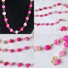#parure con #collana #bracciale #orecchini in #metallo color #oro e #agata #rosa #naturale del #botswana. #fattaamano.  ##necklace with #bracelet and #earrings in #colored #gold #metal and ##natural #pink #agatha of #botswana. #handmade.  #collar con #pulsera y #pendientes en #metal color #oro y #agata #rosa #natural de #botswana. #hechoamanos.  www.oro18.eu info@oro18.eu
