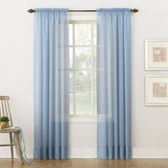 "No. 918 Emily Sheer Voile Rod Pocket Curtain Panel, 59"" x 84"", Dusty Blue"