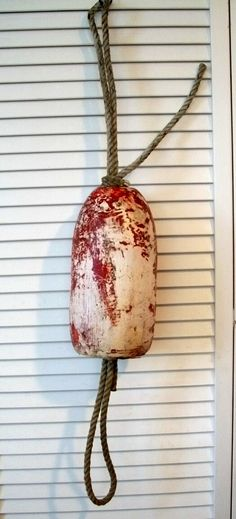 Vintage Buoy Boat /Fender Red And White Distressed Nautical Rustic Maritime. $19.00, via Etsy.